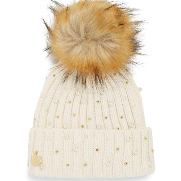 ba42793defca2 Betsey Johnson Crazy For Pearls Fur PomPom Hat NWT